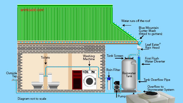 Rain water harvesting sustainable green house design for First flush diverter plans